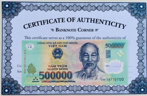 "2M 2,000,000 VIETNAM DONG 4x 500,000 LIGHTLY ""CIRCULATED"" UV PASS COA AUTHENTIC"