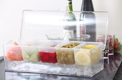 - Ice CHILLED Condiment Server 5 compartment bowl Caddy Container Cooler Bar Trays