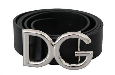 DOLCE & GABBANA Belt Black Leather Silver DG Logo Buckle s. 115cm / 46in $600