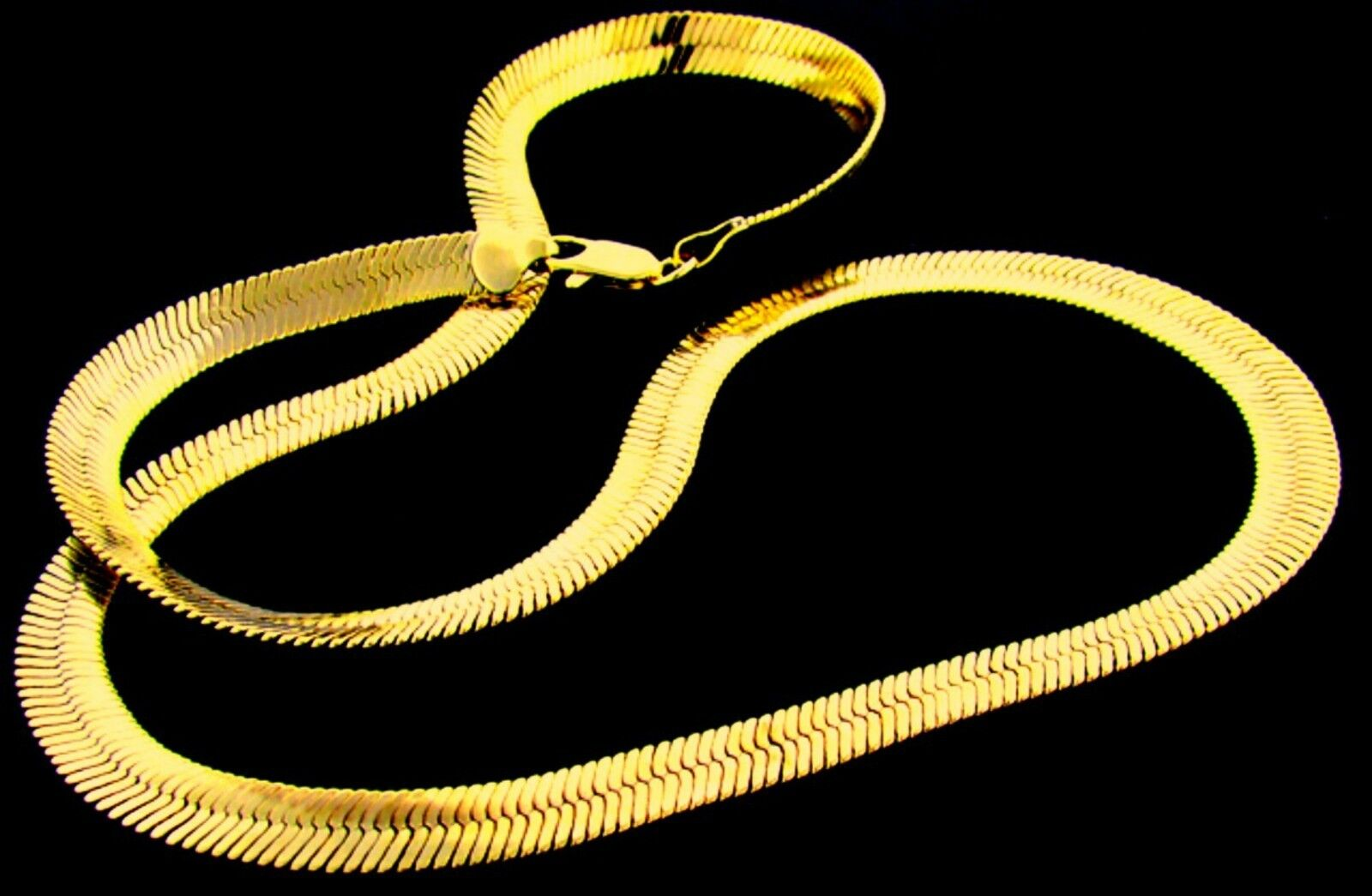 NEW PVD BONDED 18k GOLD Men's & Woman's 6½mm HERRINGBONE CHAIN Necklace -4 SIZES