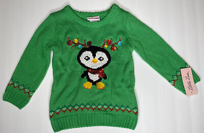 Girls Embellished Holiday Green Sweater Christmas Size 2T