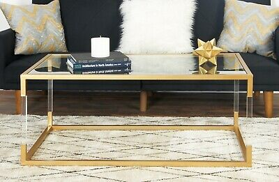 Gold Metal and Acrylic Coffee Table, New In Box