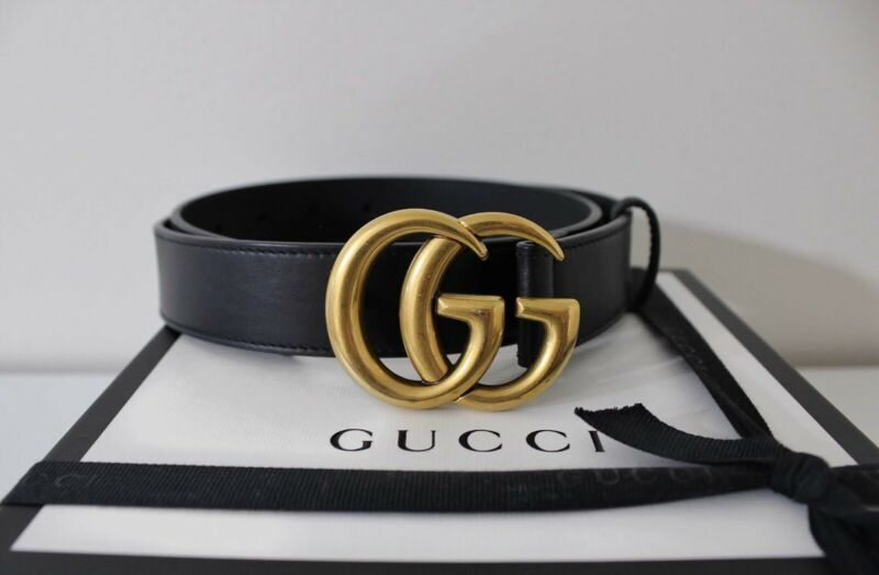 New Gucci Women's Thin .5 in Black Leather Belt with Box 70 cm