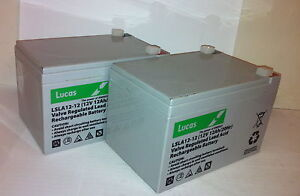 Pair of Lucas 12V 12Ah MOBILITY SCOOTER Batteries | DAYS WISPA - VAT FREE