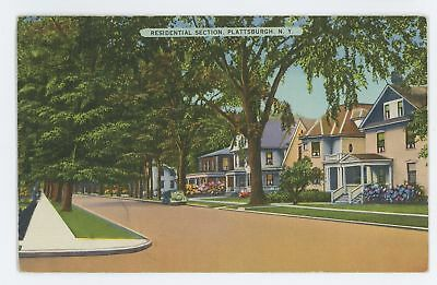 Residential Section Plattsburgh Ny Vintage Clinton County New York Postcard