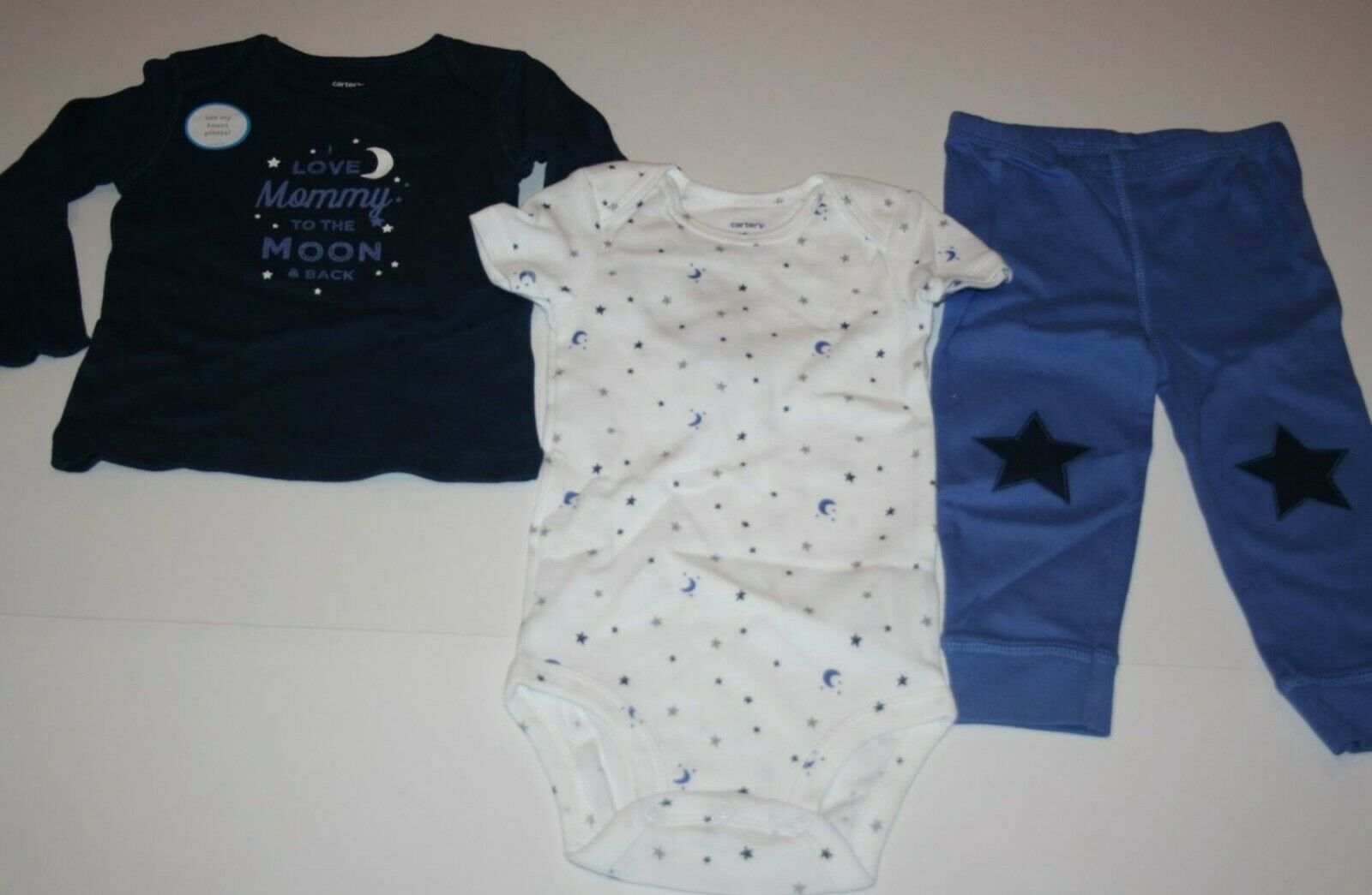 New Carter's Boys 3 Piece To The Moon & Back Bodysuit Top Pa