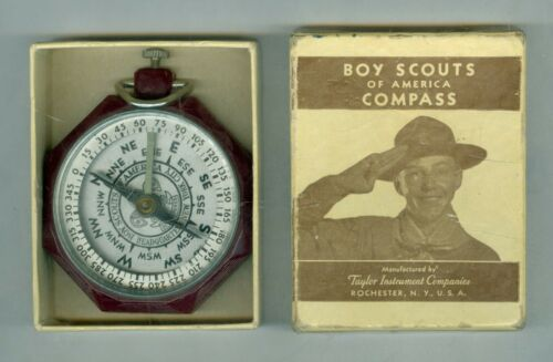 Early 1900's Nice Bakelite Boy Scout Bar Needle Compass with Original Box