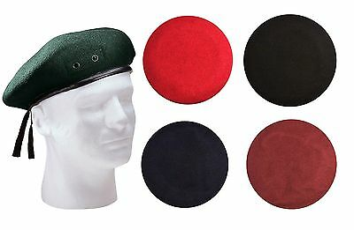 Military Style Wool Beret Green Red Black Blue Maroon Mens French Hat All Sizes