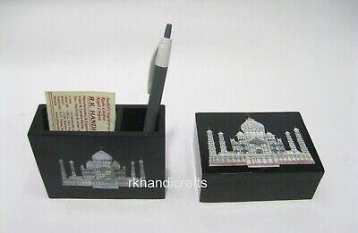 Marble Pen Card Stand Stone Men Watch Box Taj Mahal Replica Inlaid Perfect Gift