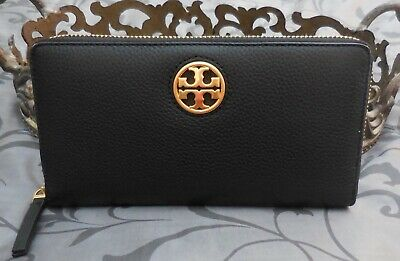 Tory Burch ~ Pebbled Leather CARSON ZIP CONTINENTAL Wallet ~BLACK~NWT $228