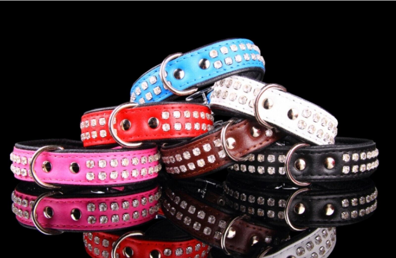 Lederhalsband mit Strass echt Leder gepolstert Hundehalsband Strasshalsband