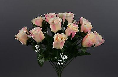 Rosenstrauß Paris 36cm Rosa-peach Dp Kunstblumen Künstlicher Strauße Rosen