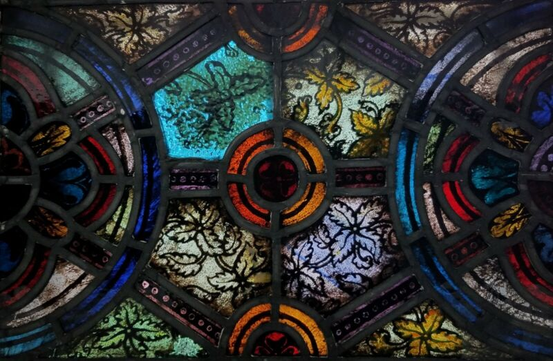 GOTHIC FIRED STAINED GLASS CHURCH WINDOW,  BALTIMORE MD AREA, 1900