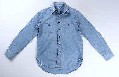 Blue Chambray Work Shirt (Chimala Mens Distressed Blue Chambray Work Shirt Size Small $438)