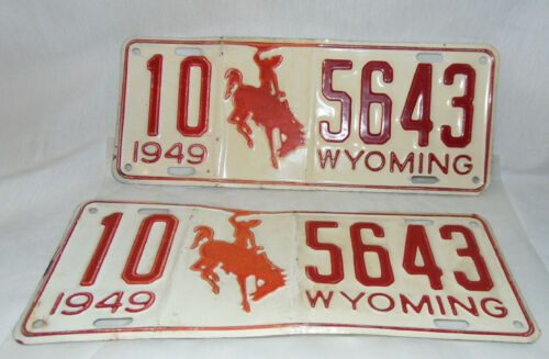 Vintage Set 2 Wyoming 1949 License Plate FREMONT COUNTY 10 5643 Great Condition