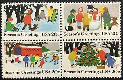 1982 Scott #2027-2030 - 20¢ - CHRISTMAS WINTER SCENES - Block of Four - Mint NH