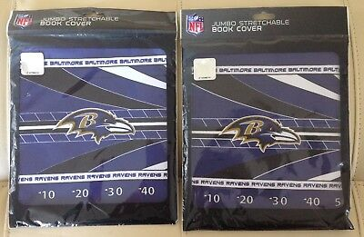 Baltimore Ravens Book Cover - NEW! 2 NFL Team Baltimore Ravens Cloth Stretchable Book Cover JUMBO Washable