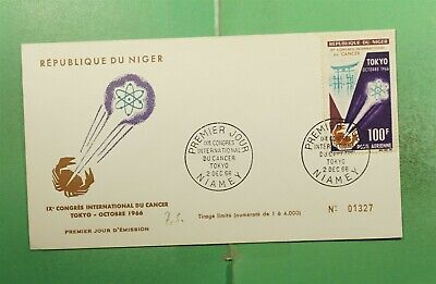 DR WHO 1966 NIGER FDC CANCER CONGRESS CACHET  g14132
