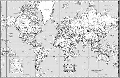 World Classic Black & White Wall Map Poster - 36
