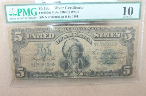"""FR. 280m 1899 $5 FIVE DOLLARS """"CHIEF"""" SILVER CERTIFICATE PMG GRADED VG10 Q2GF"""