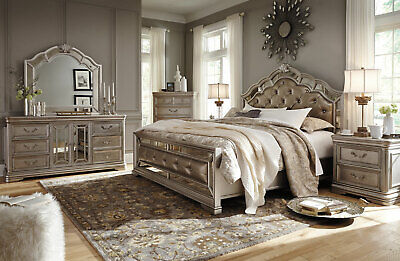NEW Old World Silver Mirrored Bedroom Furniture - 5pcs King Leatherette Bed IA1F