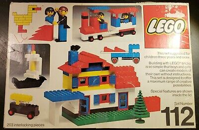 Vintage Lego Building Set #112 Original Box w/ Booklet POSSIBLY INCOMPLETE