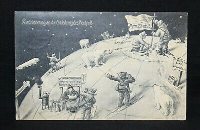 C19. GERMAN POSTCARD 1909 PLANTING THE AMERICAN FLAG AT NORTH POLE POSTED
