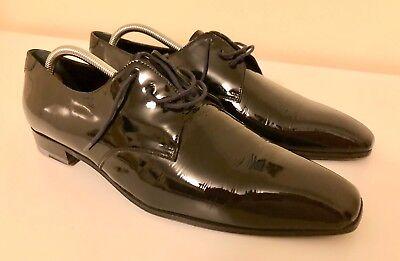 Alexander Mcqueen men's formal black lacquer shoes size UK 8.5 / EU 42.5