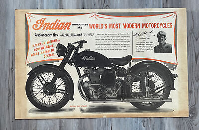 Original Vintage Indian 249 Scout Motorcycle Advertising Poster