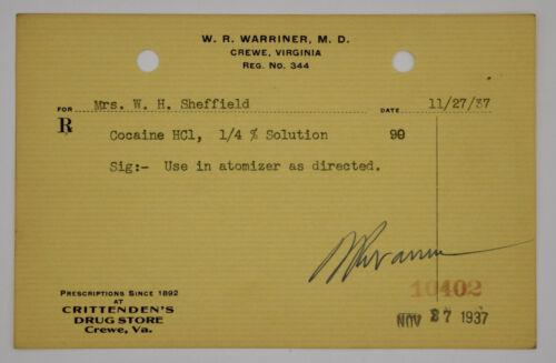 Cocaine Prescription Pharmacy Drug Virigina 1937 Antique 1900s Ephemera