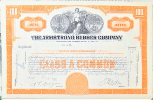 STOCK CERTIFICATE: THE ARMSTRONG RUBBER COMPANY 100 CLASS A COMMON (ORANGE)