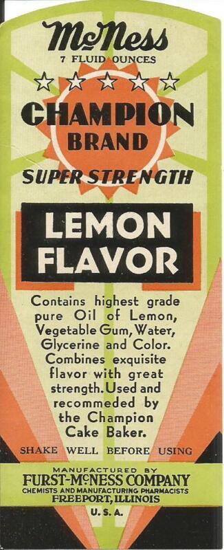 Label-McNess CHAMPION lemon flavor,sign.Freeport,IL.original 1960s =melaneybuy