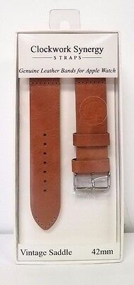 Clockwork Synergy Vintage Saddle Leather Watch Bands for 42mm Apple Watch
