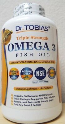 Dr  Tobias Omega 3 Fish Oil Triple Strength Burpless Non Gmo   180 Softgels
