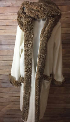 Pottery Barn Hooded Plush Faux Fur Robe L Brown Ivory Soft Long Missing Sash - Brown Hooded Robe