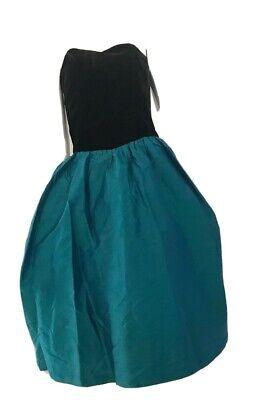 80s Dresses | Casual to Party Dresses Vintage 1980's Velvet Bodice Emerald Silk Hem Cocktail Dress And Bolero $19.51 AT vintagedancer.com