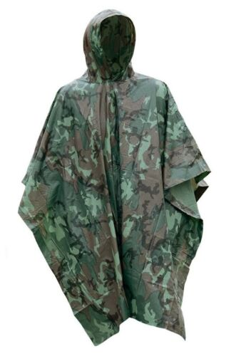 Camo Vinyl Wet Weather Rain Poncho Military Style Tarp Shelt