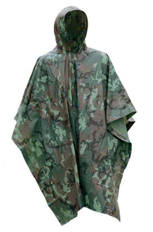 Camo Vinyl Wet Weather Rain Poncho Military Style Tarp Shelter Bivy Tent NEW