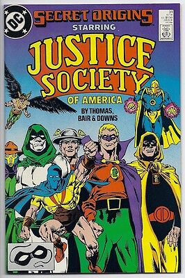 SECRET ORIGINS #31 THE JUSTICE SOCIETY OF AMERICA! ROY THOMAS! MIKE BAIR! 9.4 NM