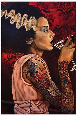 Bride Cocktail by Mike Bell Tattoo Art Print  Monster Gothic Frankenstein ()