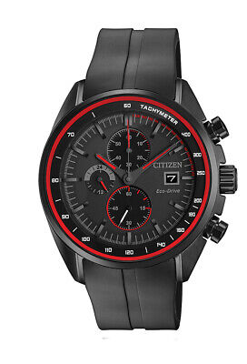 Citizen Eco-Drive Men's Chronograph Red Accent Black Strap 44mm Watch CA0595-11F