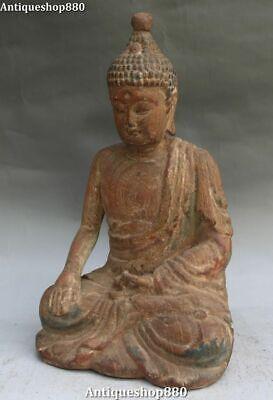 Rare Old Wood Carving Buddhism Seat Sakyamuni Shakyamuni Amitabha Buddha Statue