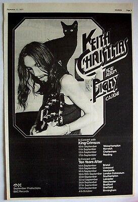 KEITH CHRISTMAS 1971 vintage POSTER ADVERT PIGMY UK CONCERT TOUR