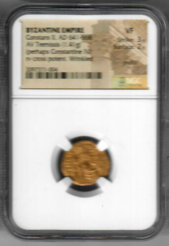 Byzantine Empire Constans II AD 641-668 (Constantine IV?) AU Tremissis NGC VF