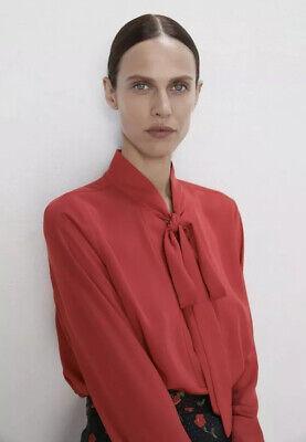 Zara Red 100% Polyester Tie Blouse Womens Sz Medium M