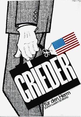 Original vintage poster GRIEDER SWISS MENS FASHION c.1975