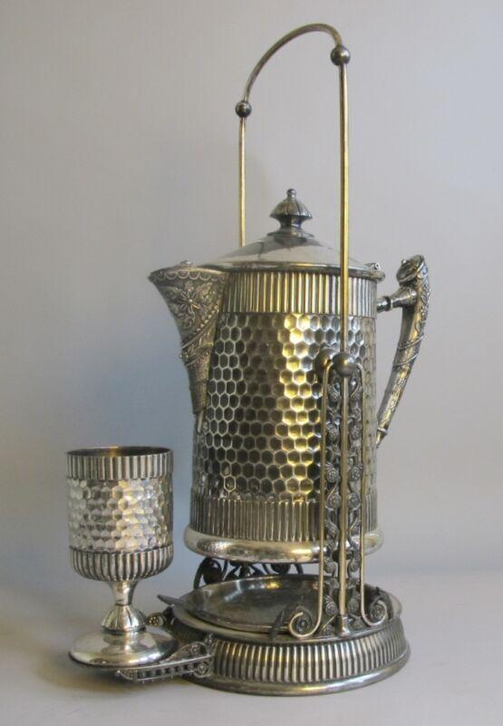 Unique VICTORIAN Hand-Hammered Silverplate Water Tipping Urn  c. 1880  antique