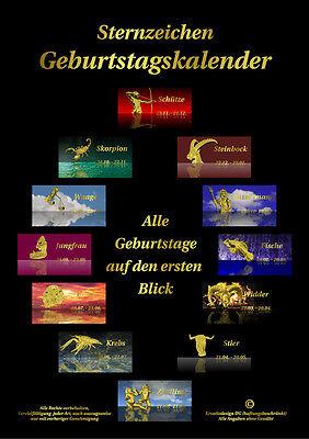 Geburtstagskalender Sternzeichen immerwährend DIN A4