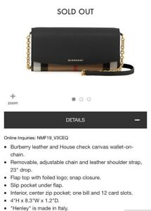 NWT Burberry Hanley Wallet On Chain