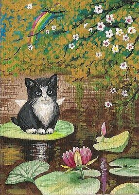 ACEO Print Of PAINTING RYTA TUXEDO CAT KITTEN ANGEL FLOWER LILY FAIRY RAINBOW